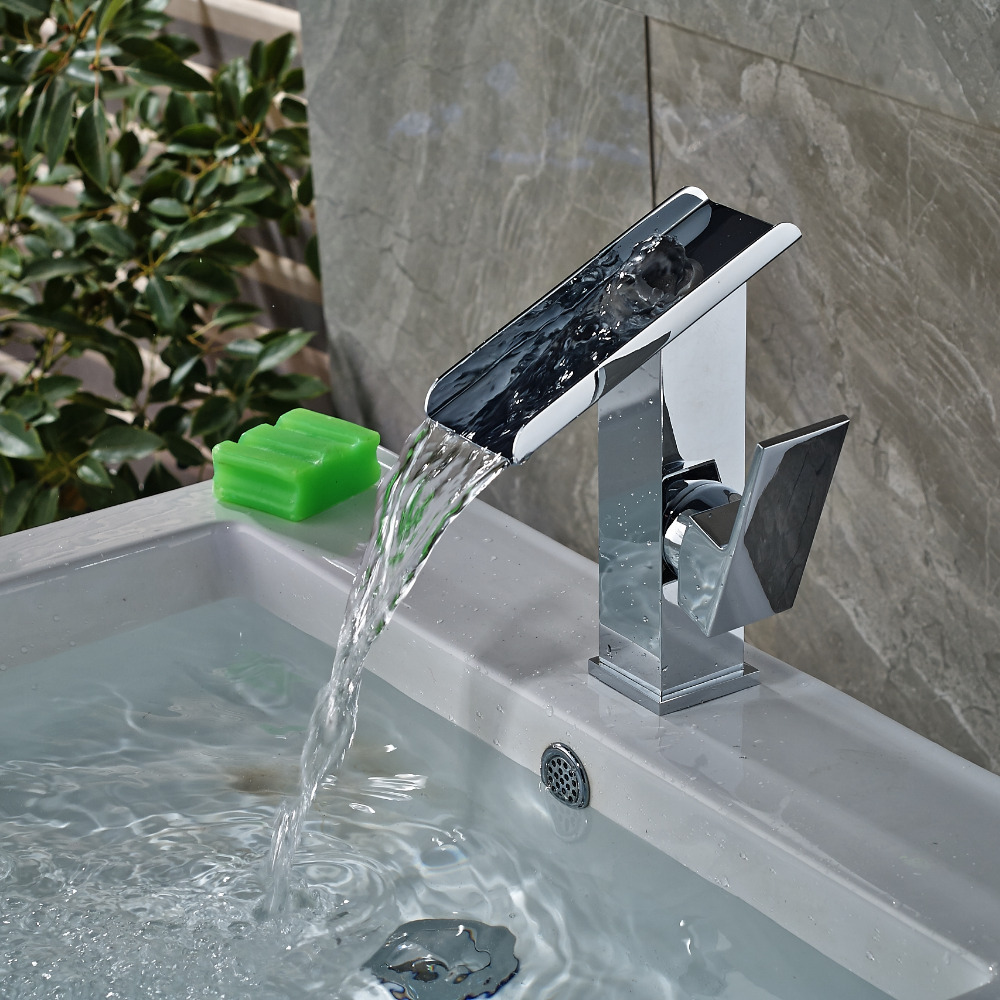 ФОТО Modern Square Single Handle Hole Vanity Sink Mixer Tap Waterfall Spout Mixer Tap