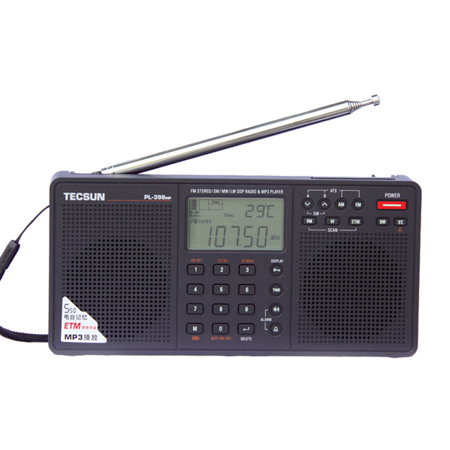 Tecsun PL-398MP 2.2'' Full Band Digital Tuning Stereo Radio Receiver  MP3 Player - Black