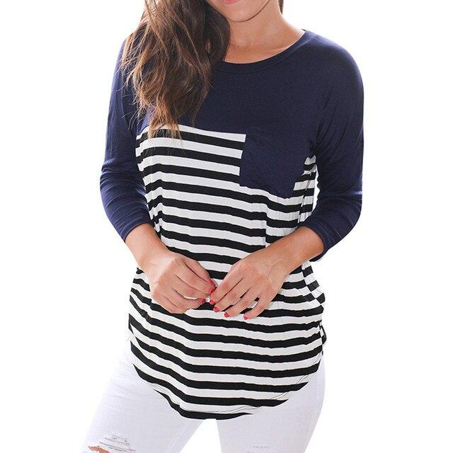 47e39150a7 Mulheres Manga Longa Listrada Bolso O Pescoço Blusa Tops Blusa Camisas  camisa xadrez feminina plus size