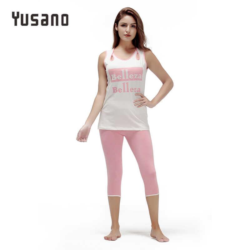 03006bdd40 Yusano 2017 Pajamas Set Cotton Hollow Out O-neck Sleeveless Sleepwear Women  Casual Letter Print