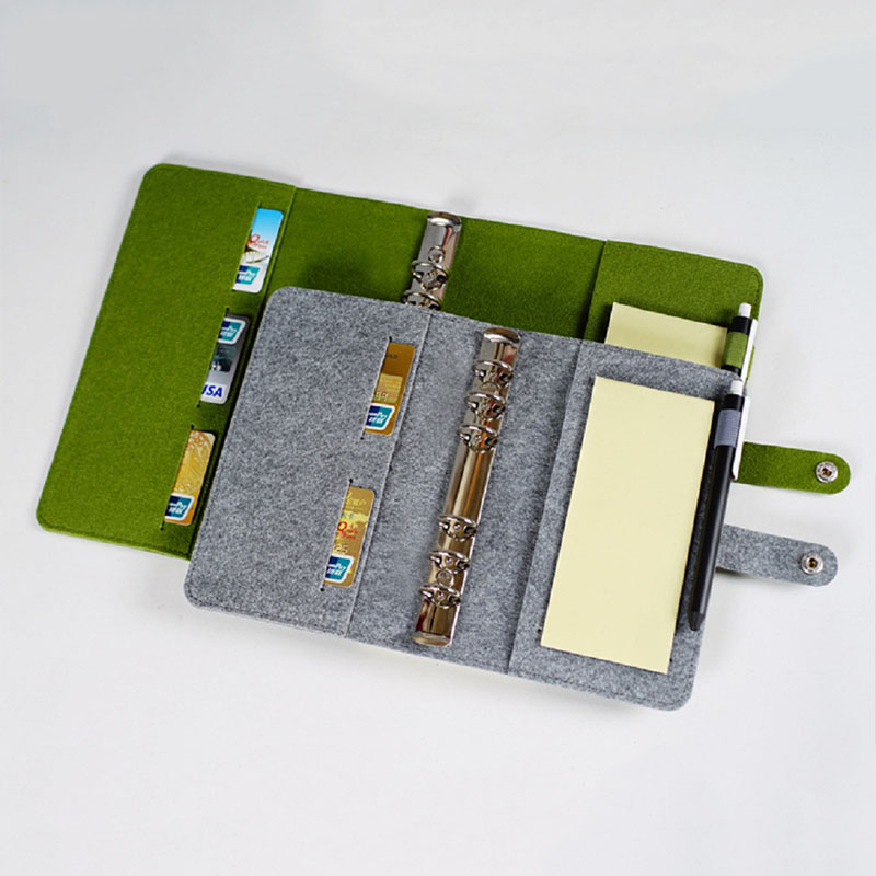 Mini A5/A6 Wool Felt Notebook Spiral Personal Dairy Planner Organizer Leaf Buckle Notepad Travel Journal Business Office Books high quality pu cover a5 notebook journal buckle loose leaf planner diary business buckle notebook business office school gift