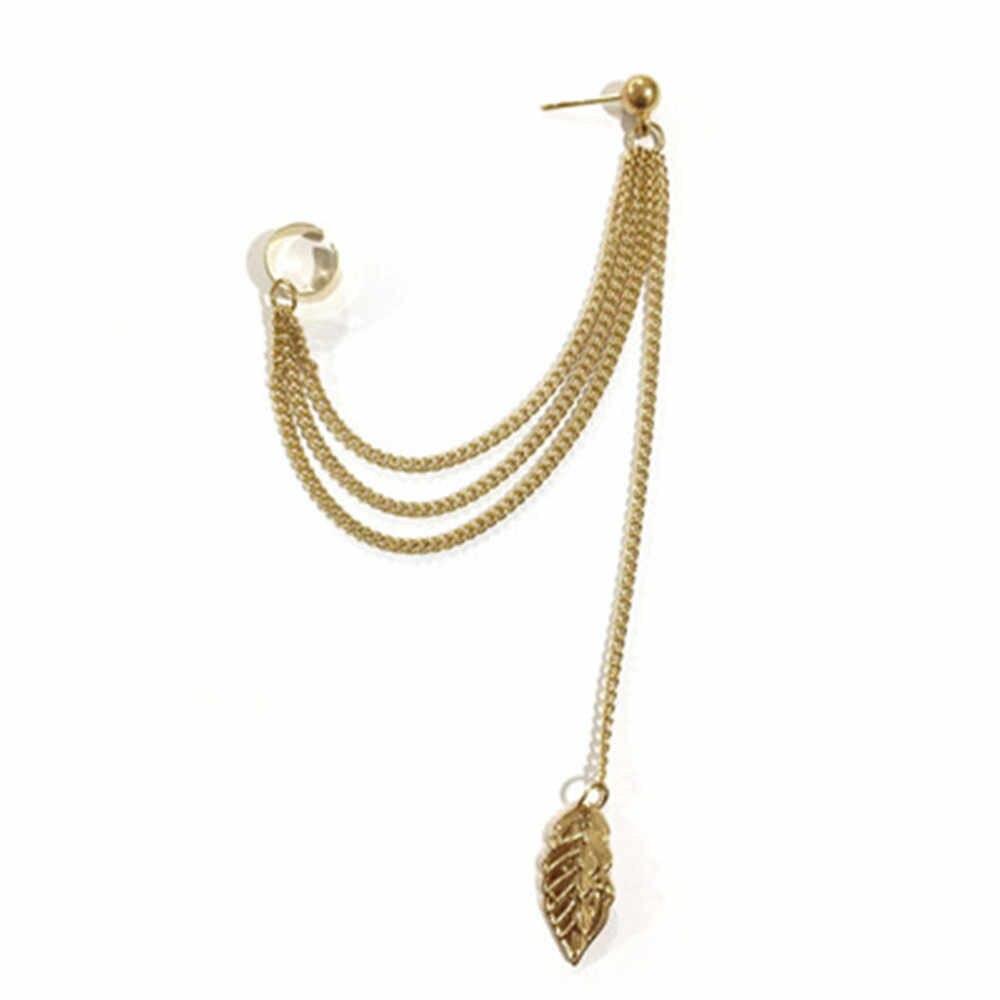 1 PC Baru Punk Manset Telinga Klip Pada Anting-Anting Mujer Brincos Gadis Rantai Daun Rumbai Panjang untuk Wanita Perhiasan Boucles pendientes Bijoux