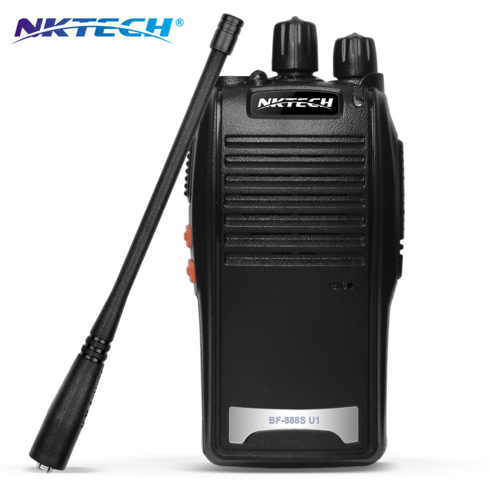 2 Pz NKTECH Walkie Talkie Radio Bidirezionale BF-U1 UHF 400-470 MHz 16 Canali 5 W Ham Transceiver Auricolare Libero