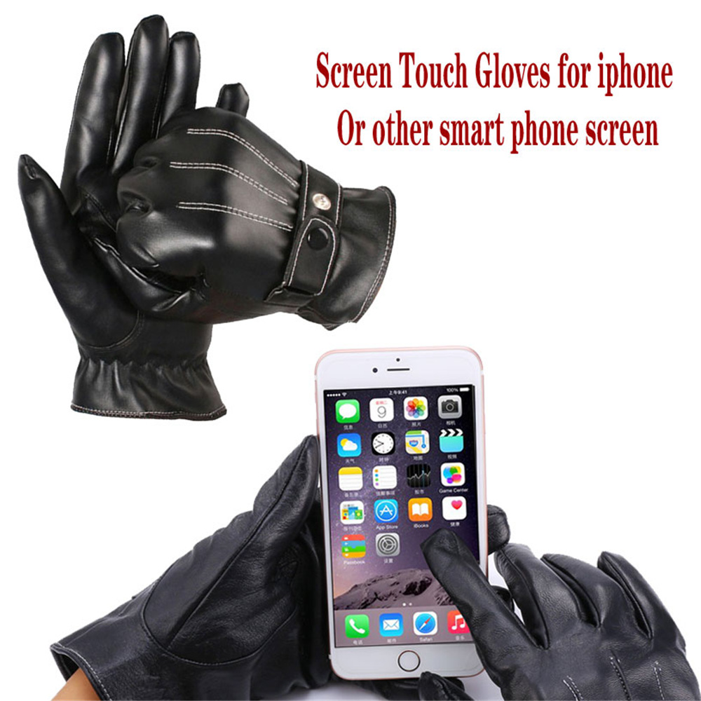 Mens leather gloves for iphone - U7 Genuine Leather Gloves Unisex New Brand Touch Screen Gloves Classic Style Fashion Warm Black Mens Ladies Gloves Mittens G1902