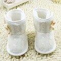 As Meninas da criança Botas De Neve De Lã de Malha Bowknot Infantil Macio Único Bebê Sapatos de Lã