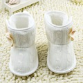 Toddler Girls Knit Woolen Snow Boots Bowknot Infant Soft Sole Baby Fleece Shoes