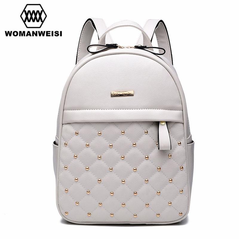 2016 Luxury Leather Backpacks For Teenage Girls Fashion Brand Women Bagpack School font b Bags b