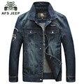 AFS JEEP 2016 Men'S Denim Jacket Male Outwear Brand Coat Spring & Autumn Fashion Retro Jean Jacket Mens Casual Jacket Plus Size
