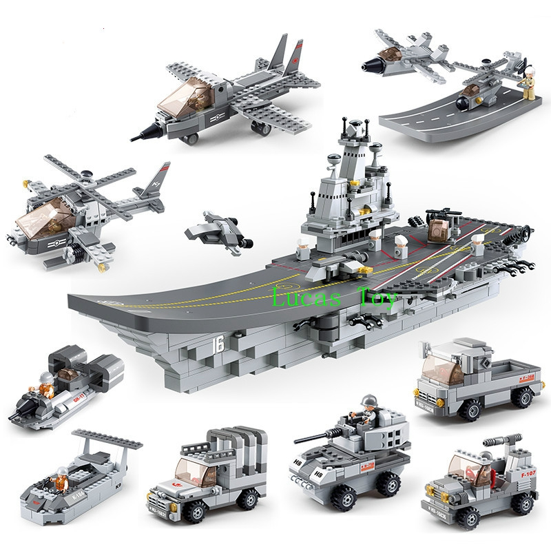 Sluban 9 In1 Military Series Army NAVY Warship Model Building Blocks Aircraft Carrier Plane Carrier Bricks Toy Gift 1001 PCS carmina campus