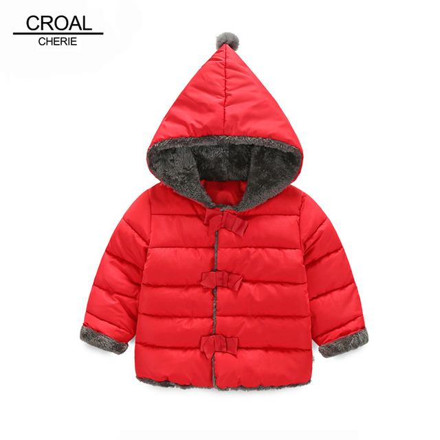 52fd515594e 90-120cm Pointy Hat Baby Girls Winter Jackets And Coats Hooded Red Baby  Outerwear Warm Padded Jacket Plus Velvet Cotton Snowsuit