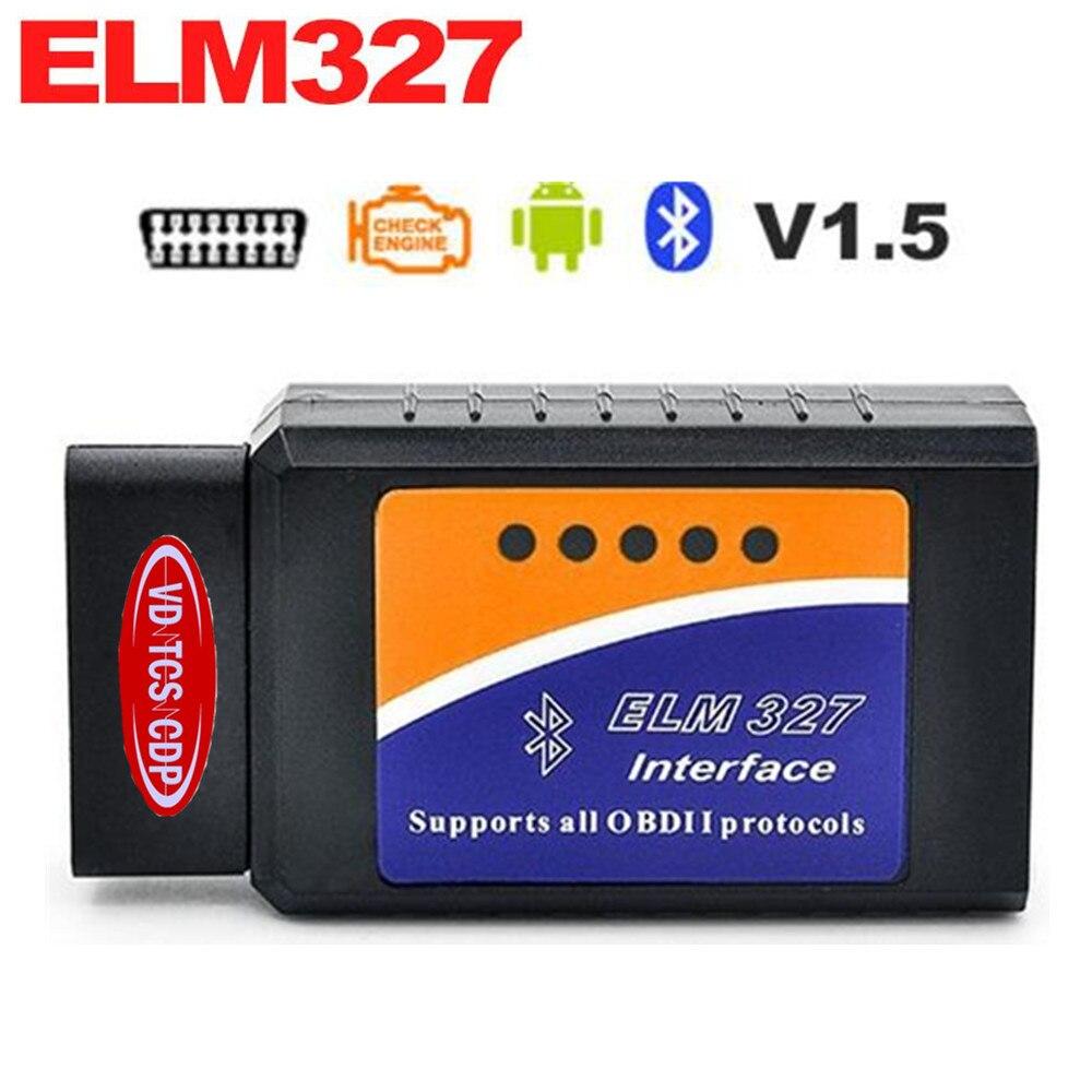 New!! <font><b>2017</b></font> ELM327 <font><b>Bluetooth</b></font> V1.5 software ELM 327 Car Interface diagnostic tool <font><b>OBD2</b></font> / OBDII scanner Works On Android Torque