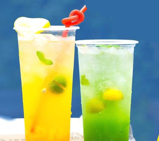 Thé au lait jetable épaississement en plastique haut à travers le jus de fruits thé au lait tasse de fruits PP 90 calibre 480/500/600/700 ml en option