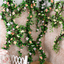 flower wall wedding Plastic Flower garland rattan Artificial Flowers Roses Vine geeen For Wedding home garden Decoration