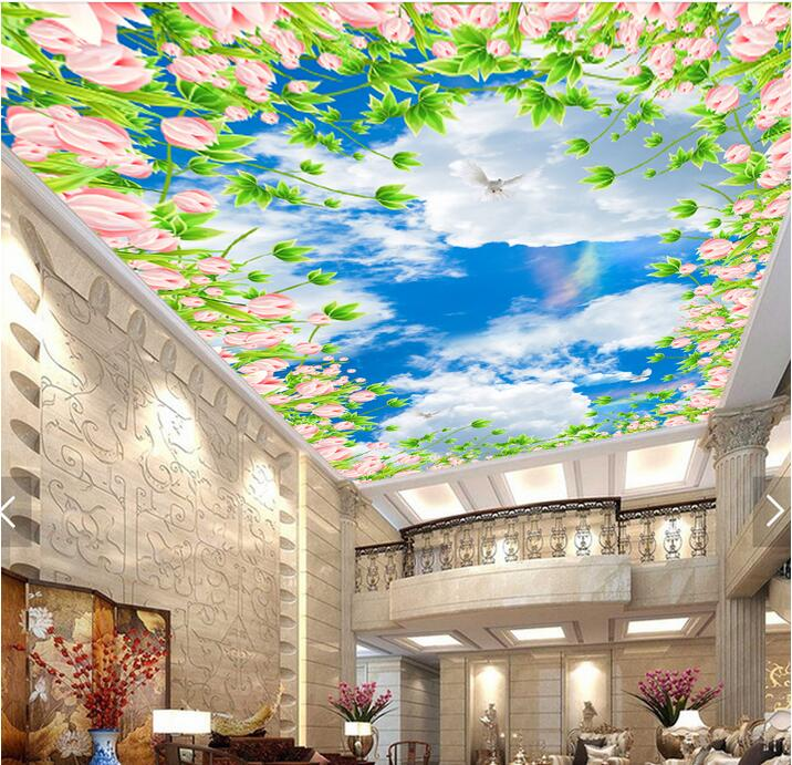 3d ceiling murals wallpaper custom photo non-woven blue sky clouds of flowers painting 3d wall mural wallpaper for living room 2pcs godox cells ii 1 8000s wireless transceiver trigger kit for canon eos camera speedlite and studio flashes
