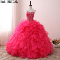 H&S BRIDAL Red Ball Gown Quinceanera dresses Organza Sweetheart Prom Dresses sweet 16 robe de soiree Lace Up quinceanera gowns