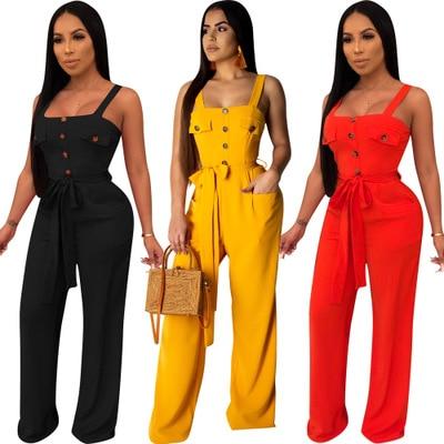 Women Elegant Long Jumpsuits Plus Size Loose Playsuits Spaghetti Straps Button Straight Leg Bodysuit