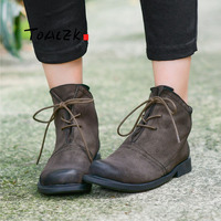 Hand made leather women's short boots retro casual British flat boots comfortable polishing leather high end art boots