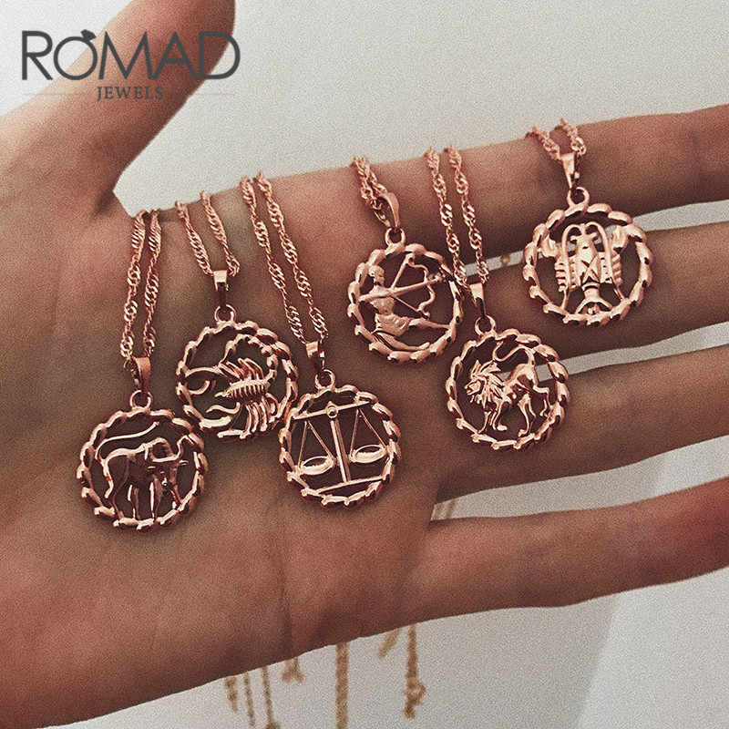ROMAD Pendant Necklace for Women 12 Zodiac Sign Constellation Yellow Rose Gold Filled Womens Necklaces Round Shaped Fashion R4