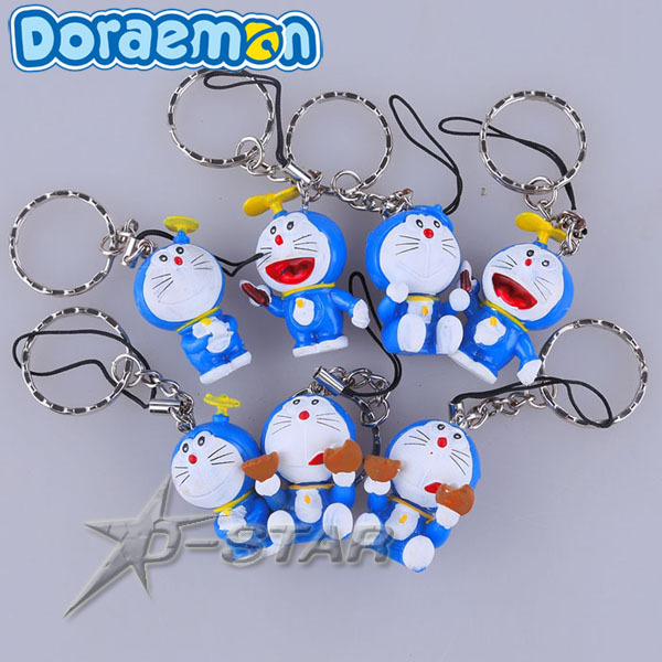 Free Shipping Cute Doraemon Cartoon Figure Pendants Keychain Key Ring (7pcs per set)