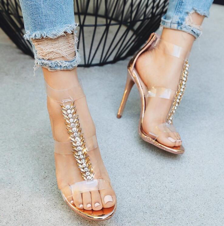 Hot Sale Luxury Rhinestone T-Staps Women Open Toe Sandals Clear PVC High Heels Ladies Sexy Party Shoes Summer Cut Out High Heels цены онлайн