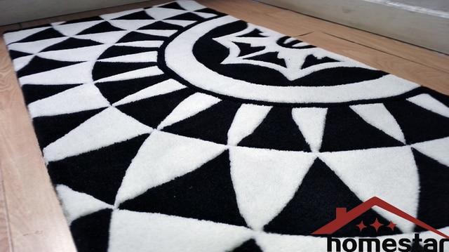 70x140 Cm Main De Mode Tapis Moderne Geometrique Carpet Noir Blanc