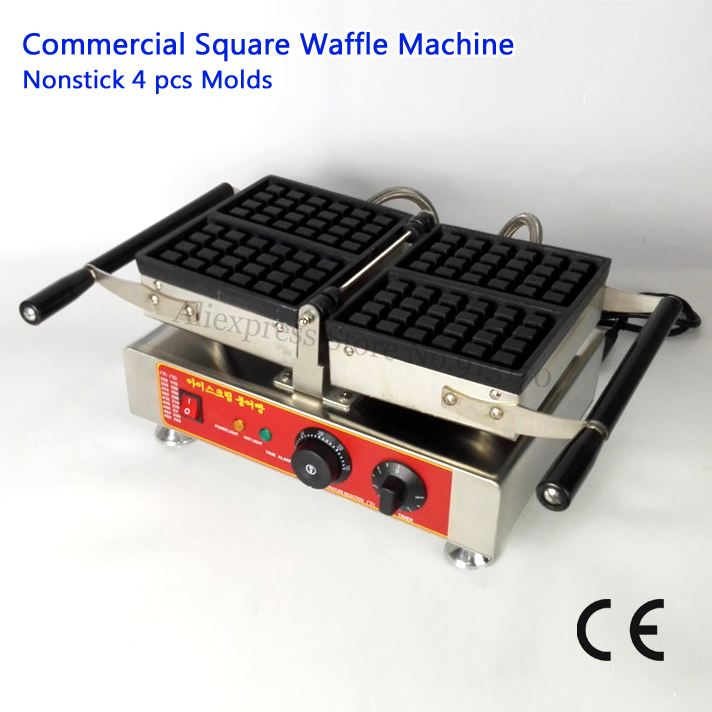 Electric Rectangle Waffle Machine Commercial Belgian Waffle Maker 2 Molds Nonstick Cooking Brand New one head rotary belgian waffle maker machine for commercial restaurant machinery wholesale