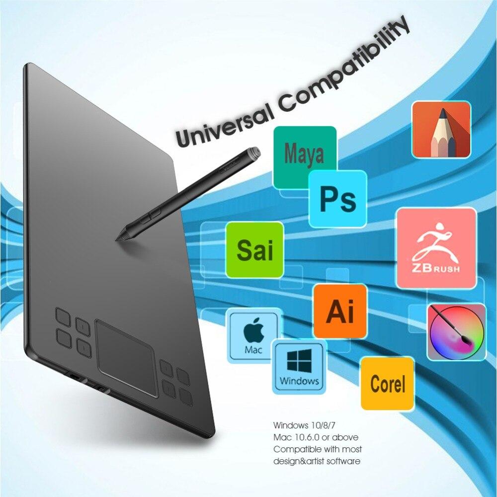 Tablette de dessin graphique VEIKK A50 avec 8192 de sensibilité à la pression (stylo passif sans batterie) périphériques d'ordinateur de tablette numérique - 6