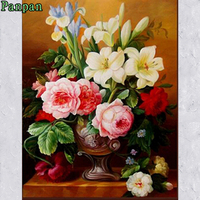 Hot Diy Painting By Numbers Modern Decorative Pictures Europe Flowers Abstract Digital Oil Painting Vintage Home