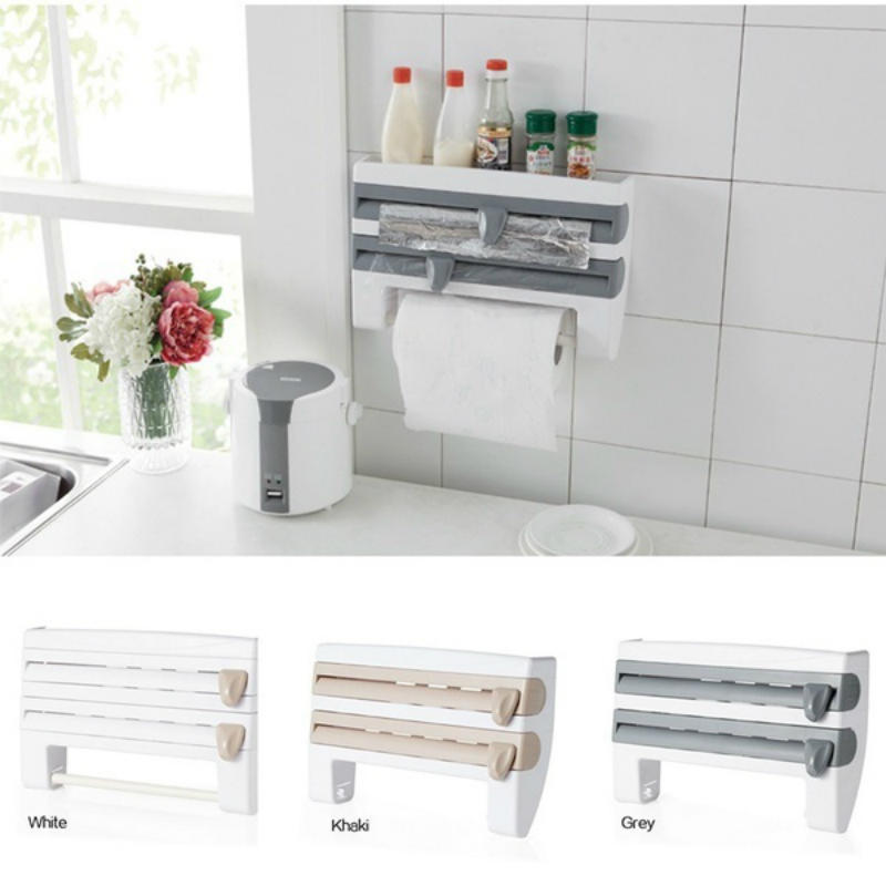 Plastic Paper Towel Holder Refrigerator Cling Film Storage Rack Wrap Wall Tool