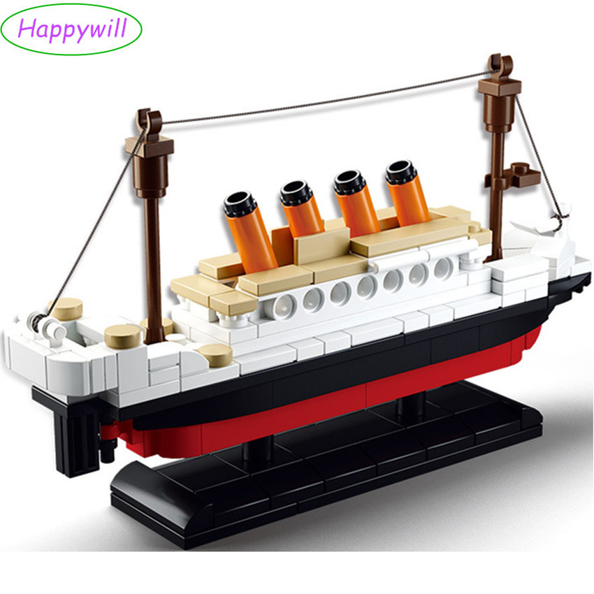 Happwill 194 pcs 0576 Building Blocks Toy RMS Titanic ShipTitanic Boat 3D Model Educational Gift Toy for Children sluban building blocks toy cruise ship rms titanic ship boat model educational gift toy for children compatible legodd 1021pcs