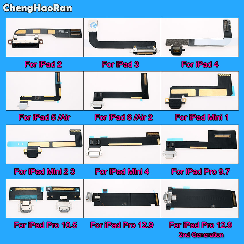 ChengHaoRan USB Charger Connector Power Charging Port Plug Flex Cable For IPad 2 3 4 5 6 Air 2 Mini 1 2 3 4 Pro 9.7 10.5 12.9