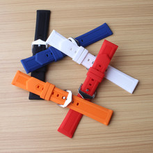 16mm 18mm 19mm 20mm 22mm 24mm Watchbands soft Black White Blue Orange Red Silicone Waterproof watches accessories for men womens(China)