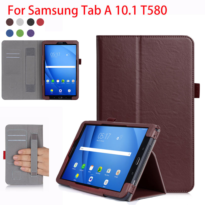 High Qualtiy PU Leather Case For Samsung Galaxy Tab A A6 10.1 2016 T580 SM-T585 T580N Cases Cover Tablet Hand Holder Shell Funda fashion flowers case for samsung galaxy tab a a6 10 1 2016 t580 t585 sm t585 case cover tablet stand pc pu leather shell funda