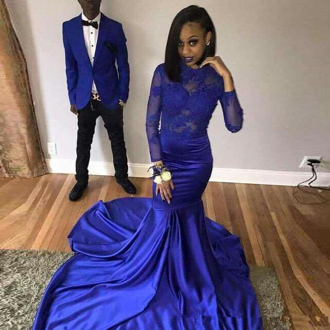 African Royal Blue Mermaid Prom Dresses 2019 gala jurken Black Girls Women Imported Party Dress Long Sleeves Formal Evening Gown