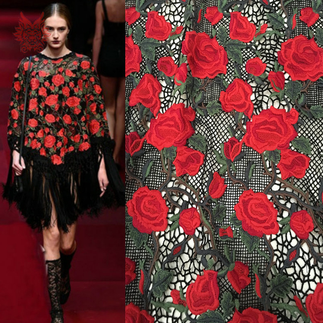 Designer red rose embroidery mesh lace fabric for wedding party ...