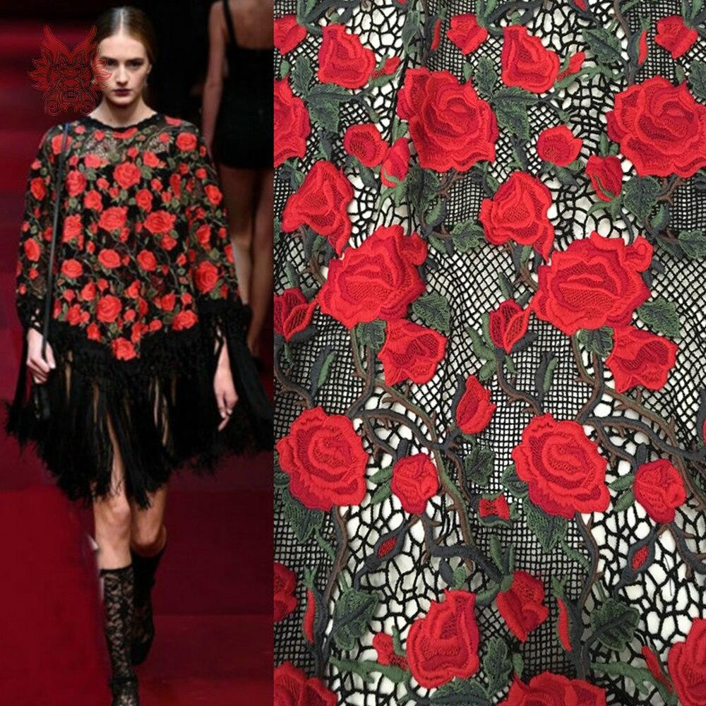 Designer rote rose stickerei mesh spitze stoff für hochzeit kleid ...