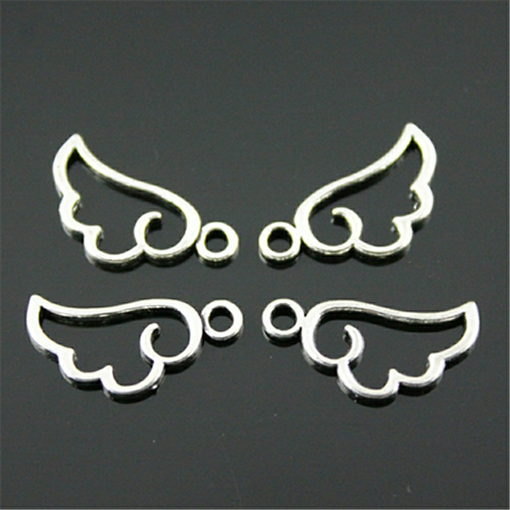 WYSIWYG 40pcs 18x9mm 3 Colors Cute Tiny Hollow Angel Wing Charms For Jewlery Making Bracelet Necklace Making