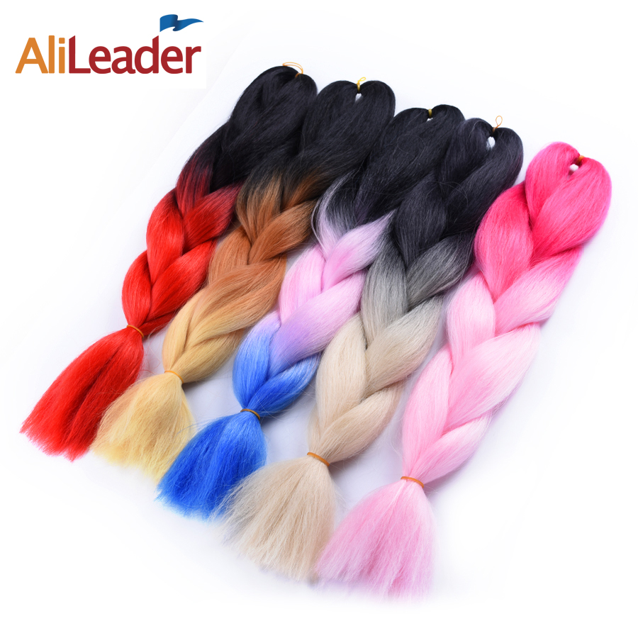 "AliLeader Pure Color And Ombre Kanekalon Braiding Hair 1B 2 4 27 33 613 99J Grey Synthetic Hair Jumbo Braids Extensions 24"" 100G"