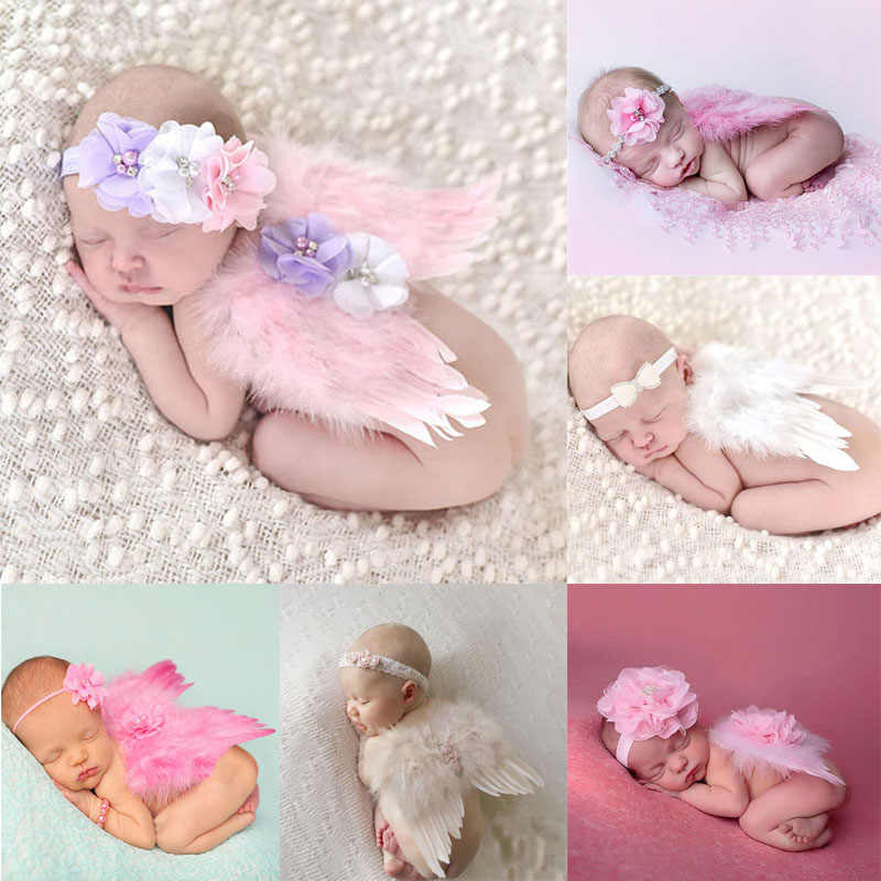Newborn Photography Props Costume Cute Angel Wings+Headband Photo Props Infant Baby Girls Boys Outfits Accessories