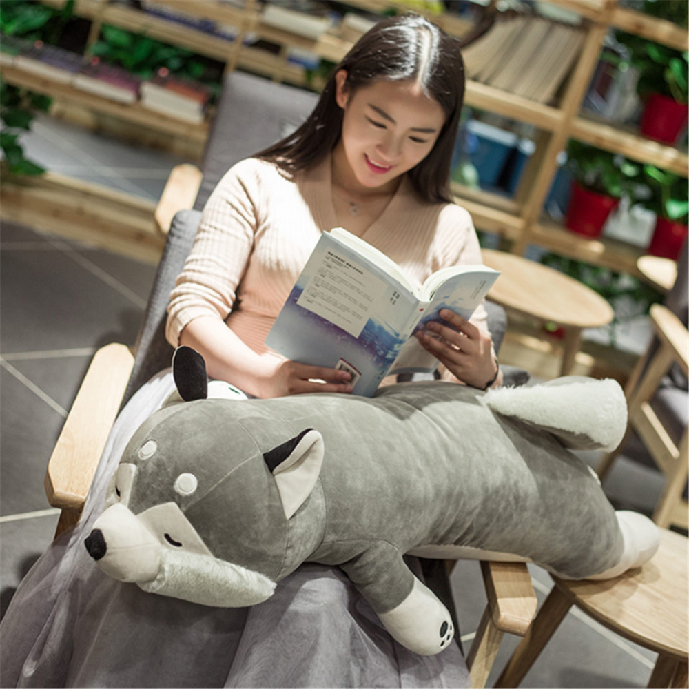 Fancytrader Giant Pop Cute Soft Cartoon Lying Husky Plush Doll Pillow Big Stuffed Animal Dog Toy Baby Present 3 Sizes stuffed animal 120cm brown lying sleeping dog plush toy soft throw pillow w2302