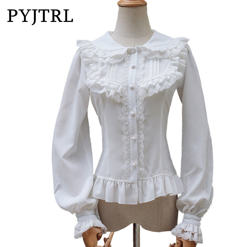 PYJTRL Japanese Style Lolita Blouse Sweet White Lace Long Sleeve Cambric Chiffon Women's Shirt Vintage Women Blouses