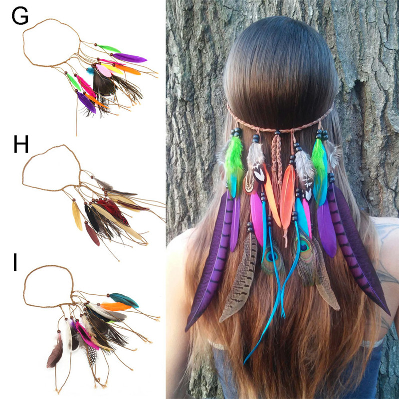 Indian Gypsy Bohemia Nationality Boho Women Beaded Peacock Feather Braided Rope Headbands Girl Hippies Hair Accessories