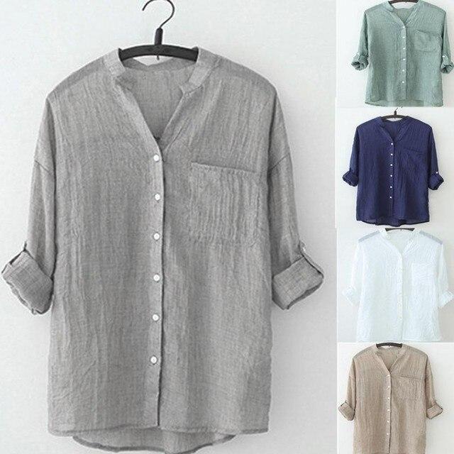 Весенняя Новинка Горячая сплошной цвет рубашки с длинным рукавом плюс Размеры рубашка шифоновая блузка рубашка Женская повседневные свободные хлопковые и льняные блузки
