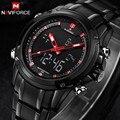 2016 NAVIFORCE Relógios Homens Esportes Da Forma do Relógio de Quartzo dos homens de Luxo Da Marca Aço Completa LED Digital relógio de Pulso Relogio masculino