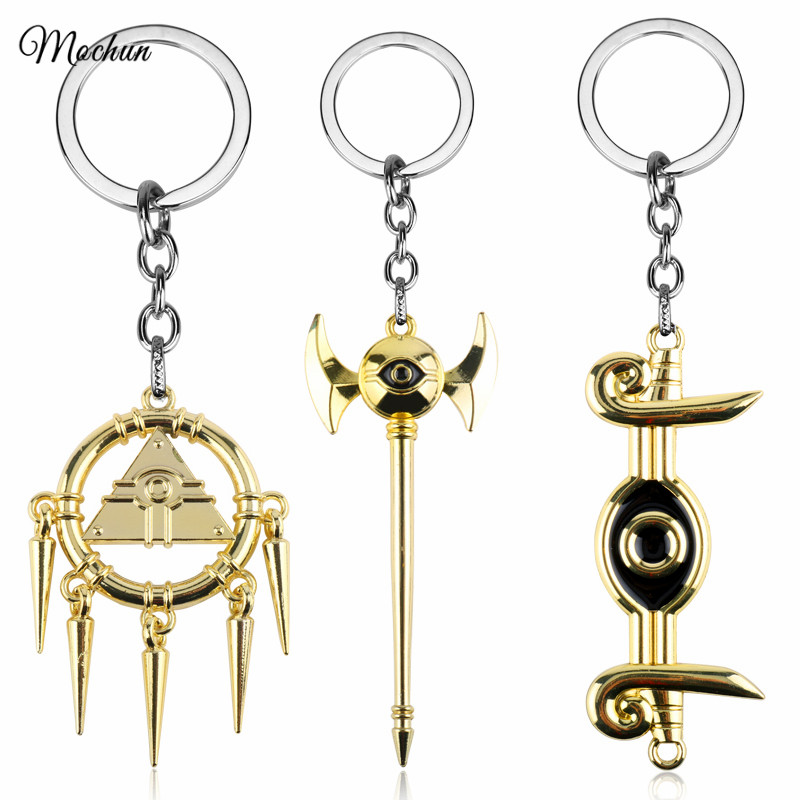 MQCHUN Yu-Gi-Oh Millennium Rod Golden Metal Mascot Keychain Alloy Keyring Cosplay Anime YuGiOh Pendant Key Chain Ring porte clef