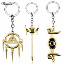 MQCHUN Yu-Gi-Oh Millennium Rod Golden Metal Mascot Keychain Alloy Keyring Cosplay Anime YuGiOh Pendant Key Chain Ring porte clef(China)