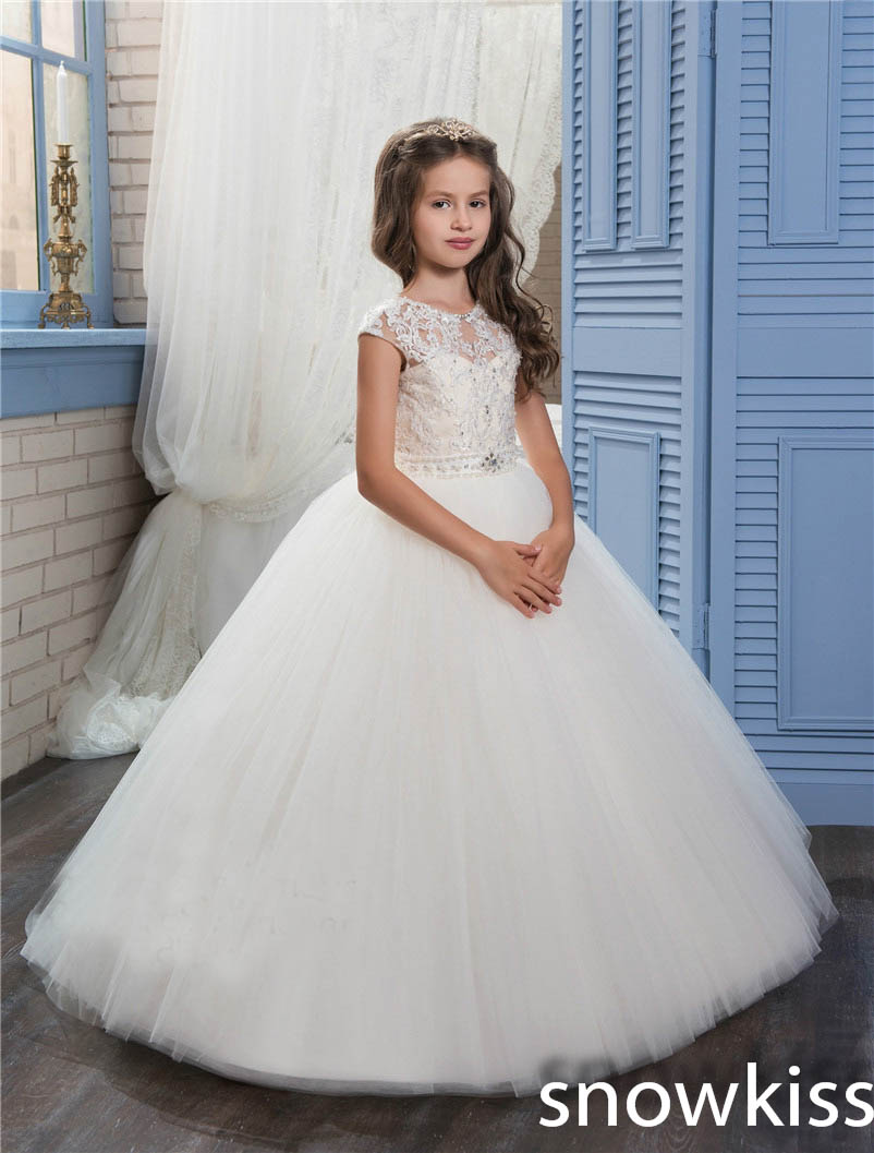 купить 2018 Ivory/white pretty first communion dresses with lace appliques crystals long tulle ball gown open back evening dress онлайн