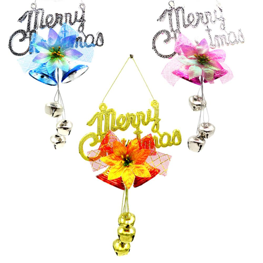 Christmas Plate Bell 3colors Charm Ornaments Tree Rattan Wreath Pendant Christmas  Decoration Supplies Home Party Decoration