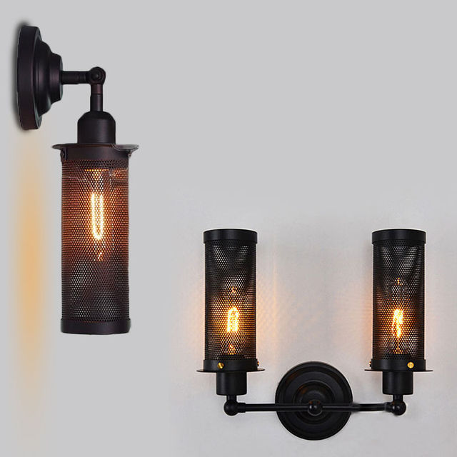 woxoyozo retro rustic wrought iron wall lamp wire cage style rh aliexpress com installing wall mounted light fixture wiring wall mounted light fixture