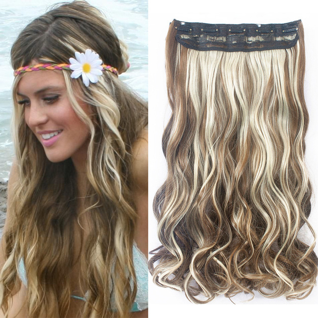 6Colors 22″ 130g Synthetic Curly Hairpiece Fashion One Piece Clip in Hair Extension Color Wavy Hair Extensions 5Clips Women Long